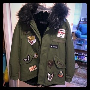 ZARA WOMEN military style coat with hood